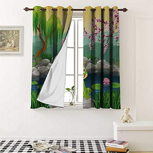 shenglv King Room Darkening Wide Curtains Fairytale Inspired Cute Little Frog Prince Near Lake on Moss Rock with Flowers Image Window Curtain Drape W108 x L72 Inch Multicolor (Drapes Near Me And Curtains)