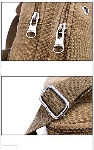 Modelshow Herren Beiläufig Schultertasche Crossbody Beutel Handtasche Umhängetasche Brusttasche mit Kopfhörer-Loch (Khaki) khaki EVHpxTO