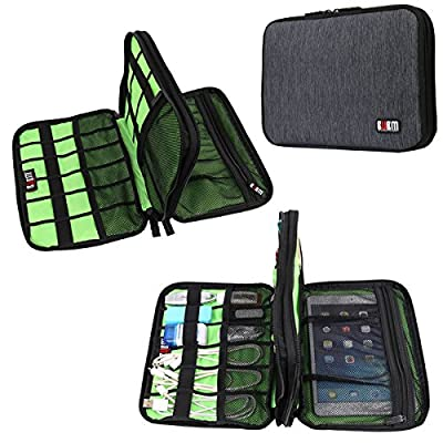 BUBM Electronic Accessories Organizer, Double Layer Waterproof Travel Gadget Bag, Daily Storage for Cables, Cards, Flash Disk, Earbud, Hard Driver, Ipad Mini, Cosmetics Management (Black) by BUBM