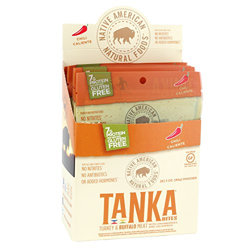 Meat Bar Bites made with Buffalo and Cranberries by Tanka, Chile Caliente, Gluten Free Snack, 3 Ounce Bag, Pack of 6