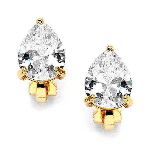 Mariell 2 Carat Clip-On Earrings with Pear-Shaped …