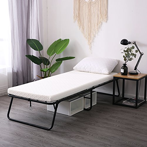 LEISUIT Rollaway Guest Bed Cot Fold Out Bed - Portable Folding Bed Frame with Thick Memory Foam Mattress for Spare Bedroom & Office (Are Much Daybeds How)