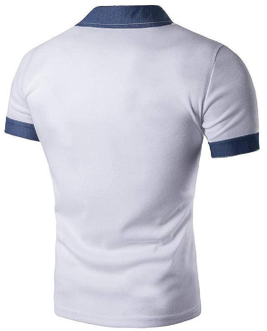 Macondoo Men Lapel Neck Denim Patchwork Sport Polo-Shirts Top Tee T-Shirts