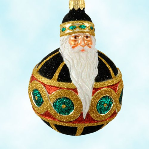 Patricia Breen Christmas Ornaments, Hollstrom Santa, Black, 2003, 2222, FG, Black ball; figure eight gold, green, red