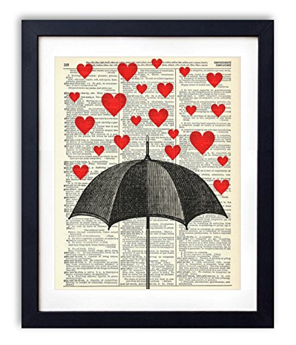 Heart Art (Raining Hearts Upcycled Vintage Dictionary Art Print 8x10)