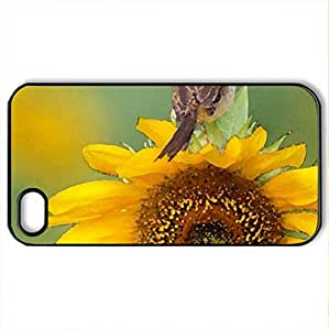 Bird on sunflower - Case Cover for iPhone 4 and 4s (Birds Series, Watercolor style, Black) by icecream design