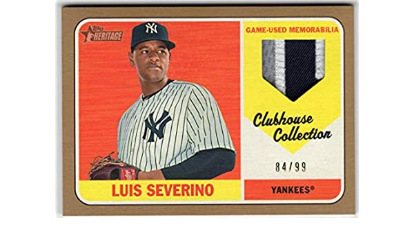 7e0e588fd Amazon.com: Luis Severino 2018 Topps Heritage High Number Clubhouse  Collection Gold 3 Color Jersey Patch Card Serial #84/99 New York Yankees:  Collectibles ...