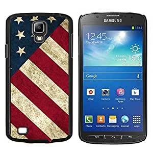 EJOOY---Cubierta de la caja de protección para la piel dura ** Samsung Galaxy S4 Active i9295 ** --Raya de la bandera americana patriótica Rústico
