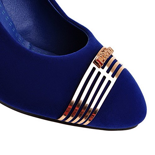 Blue Solid Heels Closed Women's Round Toe Shoes 37 High Pumps Frosted WeiPoot vw0q1Aq