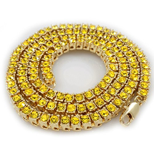 14K Gold Plated Canary 1 Row Iced Out Tennis Necklace, 24 (Canary Crystal)