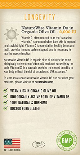 NatureWise Vitamin D3 2000 IU for Healthy Muscle Function Bone Health and Immune Support Non-GMO in Cold-Pressed Organic Olive Oil1-year supply 360 count Discount