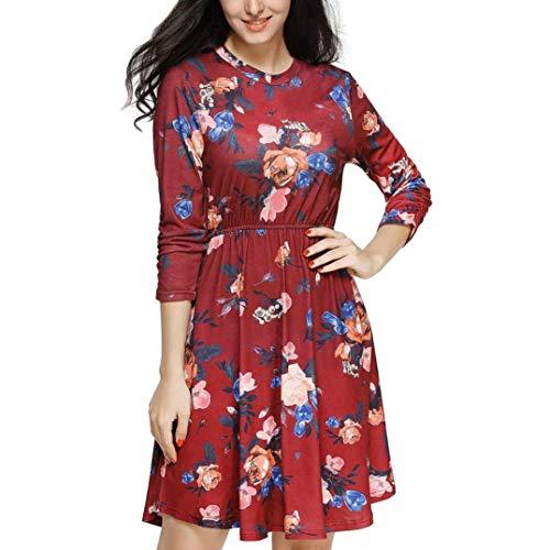 Women Dress,Caopixx Ladies Long Sleeve Printing Casual Dress Evening Party Dress with Pocket ()
