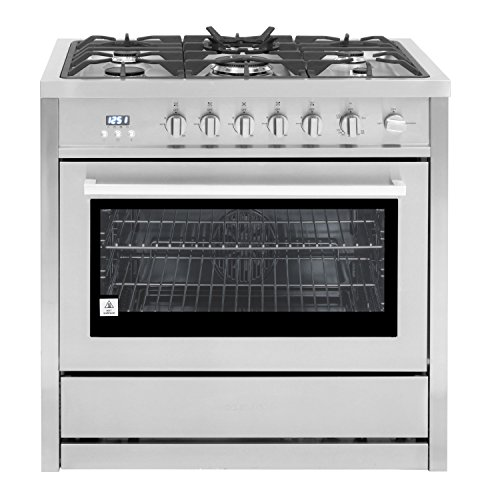 (Cosmo COS-965AGC 36 in. 3.8 cu. ft. Single Oven Gas Range with 5 Burner Cooktop and Heavy Duty Cast Iron Grates in Stainless Steel)