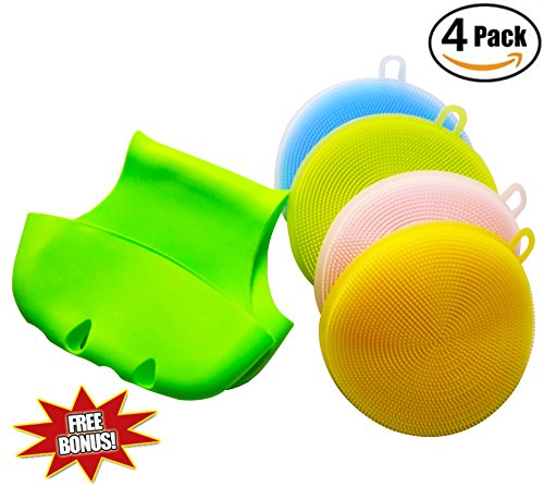 Silicone Sponge Dish Scrubber Dishwashing Brush Kitchen Antibacterial Cleaning Antimicrobial Non Stick Food Grade Durable For Wash Pot Pan Bowl & Wash Fruit Vegetable 4 Piece With FREE - Free Hot Por