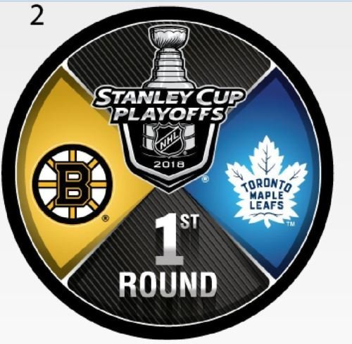 The Hockey Company 2018 Stanley Cup Playoffs 1st Round Puck Dueling Teams Bruins VS. Maple Leafs Round 1 PRE-Order Item - Shipping Begins ON May 14TH Boston Toronto