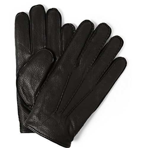 (Polo Ralph Lauren Men's Leather Gloves Cashmere Black M)