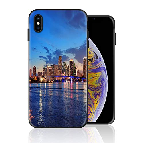 Silicone Case for iPhone Xs, Miami Sea and