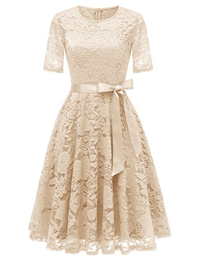 DRESSTELLS Short Bridesmaid Scoop Floral Lace Dress Cocktail Formal Party Dress Champagne S (Lace Short In Cream)