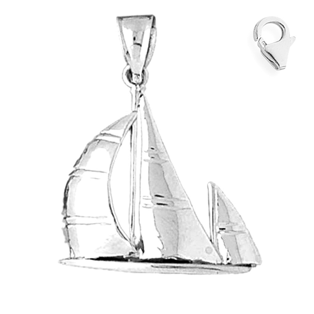 JewelsObsession Sterling Silver 33mm Sailboat Charm w//Lobster Clasp