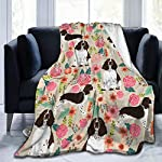 YongColer Fleece Blankets for Fall Winter Spring All Season Lightweight Throw for The Bed Extra Soft Brush Fabric Summer Autumn Warm Sofa Blanket (English Springer Spaniel) 6