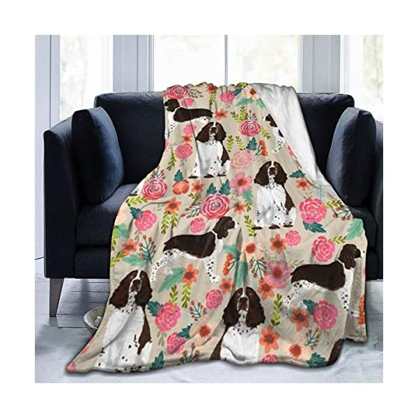 YongColer Fleece Blankets for Fall Winter Spring All Season Lightweight Throw for The Bed Extra Soft Brush Fabric Summer Autumn Warm Sofa Blanket (English Springer Spaniel) 1