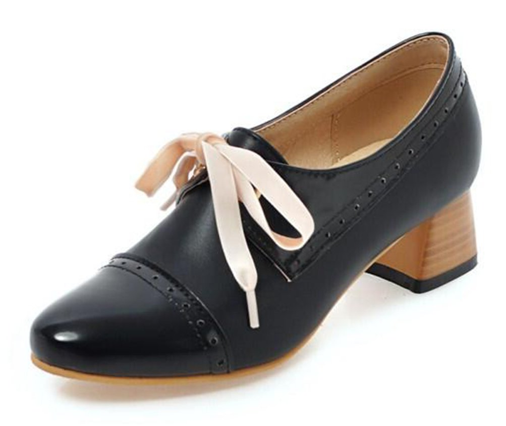 Easemax Damen Lace Up Low Ankle Blockabsatz Derbys Chunky Heels Schnuuml;rhalbschuhe mit Absatz39 EU|Schwarz