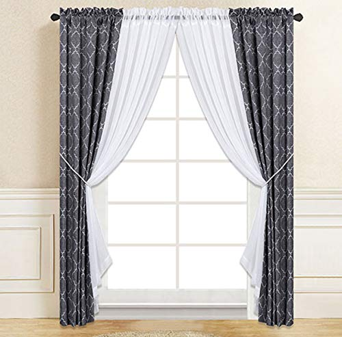 Elegant Home 6 Piece Complete Window Curtain & Sheer Panel Set with 2 Curtain Panels 2 White Sheer Panels and Two Tiebacks for Living Room, Dining Room, Or any other Windows or Patio Do (134 Charcoal)