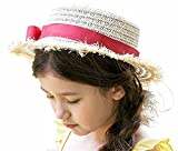 Bienvenu Kid Baby Summer Hat Sun Protective Straw Hat Party Bucket Hat,Red
