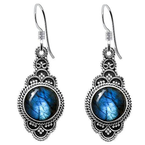 11.5 Ctw Labradorite Earring By Orchid Jewelry : Hypoallergenic Dangle Earrings For Sensitive Ears, Nickel Free Wedding Earrings, Formal Sterling Silver Bridal Dangling Earring Set ()