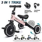 XJD 3 in 1 Kids Tricycles for 1-3 Years Old Kids Trike 3 Wheel Bike Boys Girls 3 Wheels Toddler Tricycles Toddler Bike Trike Upgrade 2.0 (Pink)