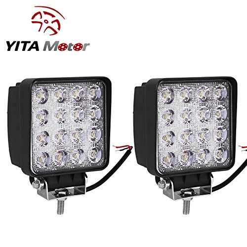 YITAMOTOR 2Pack,4inch 48W Square LED Work Light Flood Beam Waterproof Offroad Driving Pod Light for SUV ATV 4X4WD Truck 12V 24V,2 Years Warranty