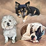 Custom Portrait Of 4 Pets On 1 Canvas, From 1 - 4 Photos, Personalized Acrylic Oil Watercolor Painting, Collage Of Your Dog, Cat, Horse, Parrot, Rabbit, etc