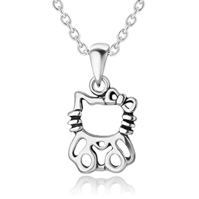 1a2df8bfb 925 Sterling Silver Hello Kitty HelloKitty Cat with Bow Sanrio Pendant  Necklace 13-15