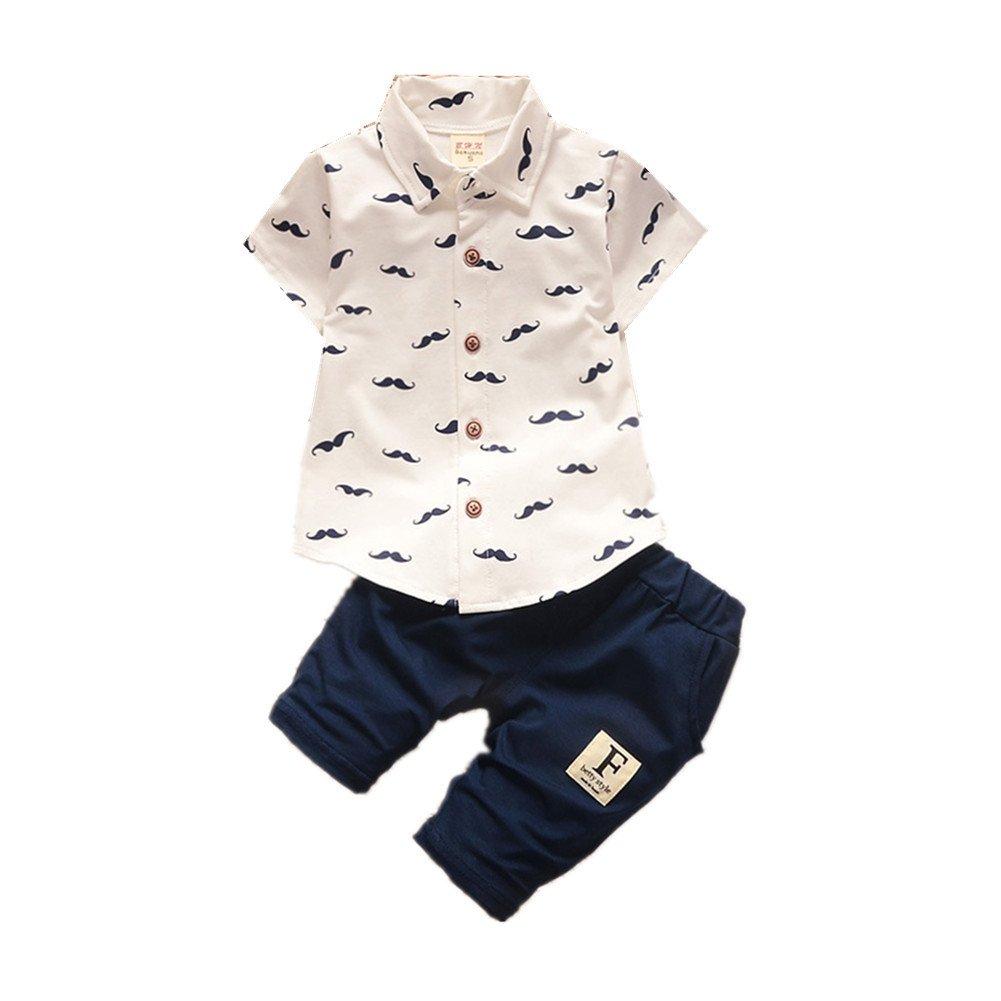 BibiCola Summer Baby Boy Gentleman Clothes Sets Cotton T-Shirt +Pant Casual Sport Suits Kids Set(White,3T)
