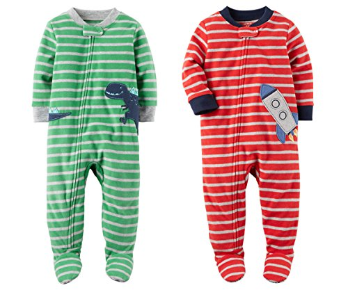 Carters Baby Toddler Boys 2 Pack Fleece Footed Pajama Sleep and Play Set (12 Months, Zipper Closure - Green Striped Dinosaur and Red Striped Rocket Ship) (Pajama Striped Fleece)