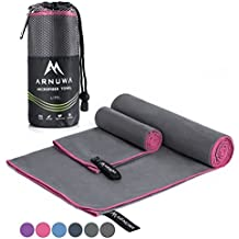 Arnuwa Microfiber Travel Towel Set - Quick Dry Ultra Absorbent Compact Antibacterial - Great for Camping, Hiking, Yoga, Sports, Swimming, Backpacking, Beach, Gym & Bath