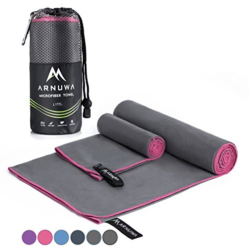 Arnuwa Microfiber Travel Towel Set Quick Dry Ultra Absorbent Compact Antibacterial, Gray/Pink L (Best Gym Travel Towel)