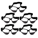 MonkeyJack 1-Pack / 5-Pack Basketball Training Equipment Dribble Goggles Sports Eyewear with Adjustable Band - Black (5 Pack)