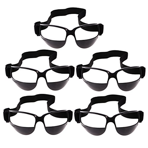 MonkeyJack 1-Pack / 5-Pack Basketball Training Equipment Dribble Goggles Sports Eyewear with Adjustable Band - Black (5 Pack) by MonkeyJack