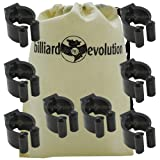 Small Black Rounded Cue Clips with Billiard Evolution Drawstring Bag
