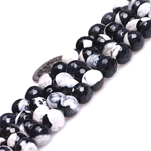 Fire Agate Beads for Jewelry Making Gemstone Semi Precious 8mm Round Faceted Black and White 15