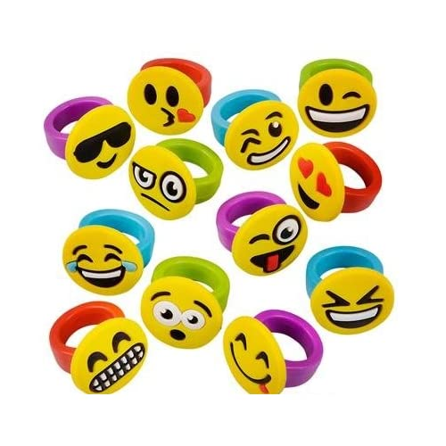 1 Inch Emoticon Rubber Rings Emojis - 60 Pieces - Variety Of Funny Expressions And Smileys - Great Party Favor – By Kidsco