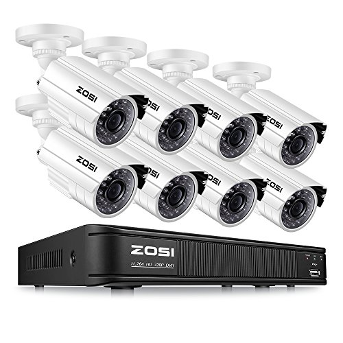 ZOSI 720P HD-TVI 8 Channel Security Camera System,1080N HD Surveillance DVR Recorder and (8) 1.0MP 1280TVL Outdoor/Indoor Bullet CCTV Camera with Long Night Vision (No Hard Drive)