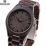 Shangdongpu Men's Wooden Watch,Dark Sandalwood Watch with Wooden Band and Japan Quartz Movement for Men Luxury Design