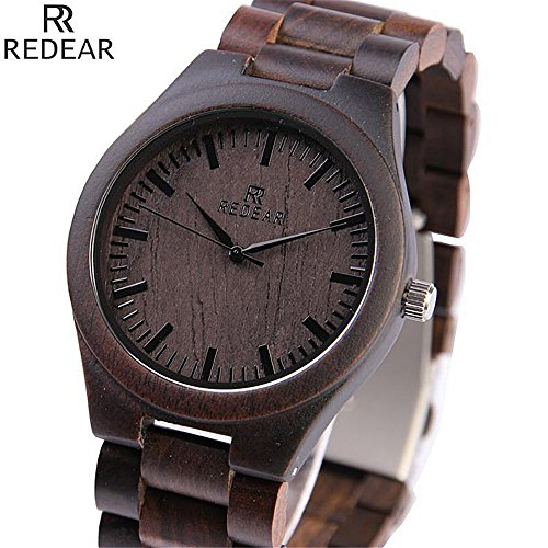 Shangdongpu Men's Wooden Watch,Dark Sandalwood Watch with Wooden Band and Japan Quartz Movement for Men Luxury Design (Japan Movement)