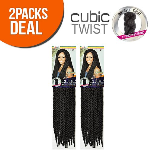ISIS Synthetic Hair Crochet Braids A Fri-Naptural Cubic Twist (2-Pack, 1B)