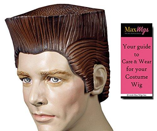 Bundle 2 items: Crewcut Brown Rubber Wig Anime Lazytown Villain Male 1950s Style Men's Hallowen Costume Latex Wigs, MaxWigs Costume Wig Care (Hallowen Wigs)