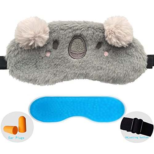 ZHICHEN Silk Eye Mask with Lovely 3D Cute Koala Face Soft & Lightweight Eye Bags Adjustable Sleep Blindfold for Kids Girls Adult for Yoga Travel Sleep Party [Inclulding Ice Bag, Ear Plugs] (Koala)