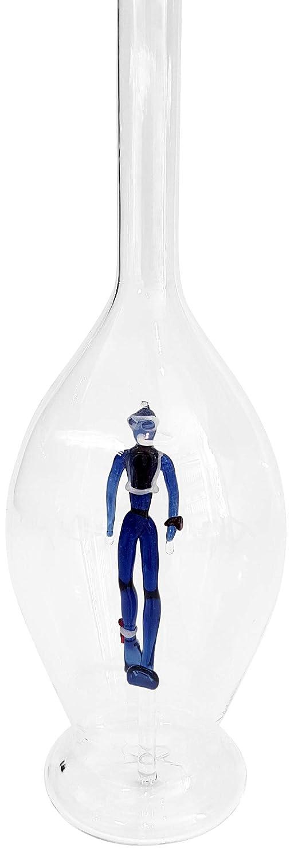 Jarra de cristal claro, botella, decantador, garaffa ambombada de vidrio transparente y soplado a boca con un buzo, vidrio de color en el interior, ...