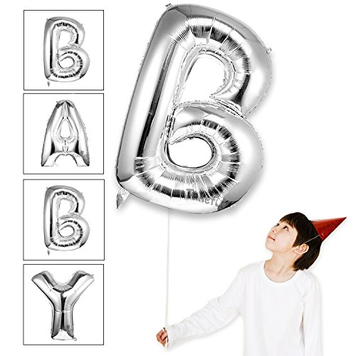 Baby Shower Balloons Large Mylar Foil Helium Letter Balloons Jumbo 40 inch Alphabet Balloons Letter for Birthday Bridal Shower Anniversary Decorations,Letter B